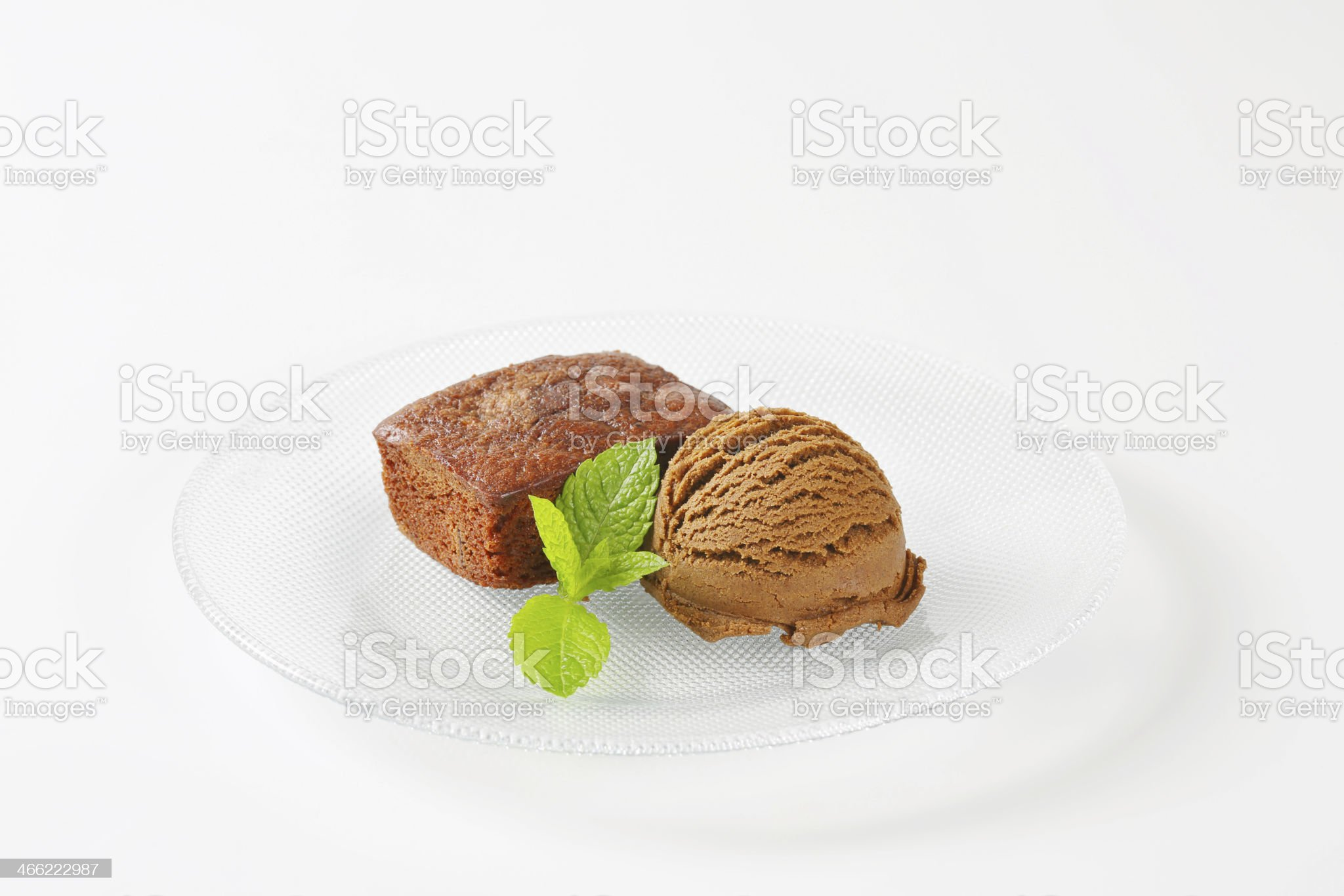 Mini brownies with scoop of chocolate ice cream royalty-free stock photo