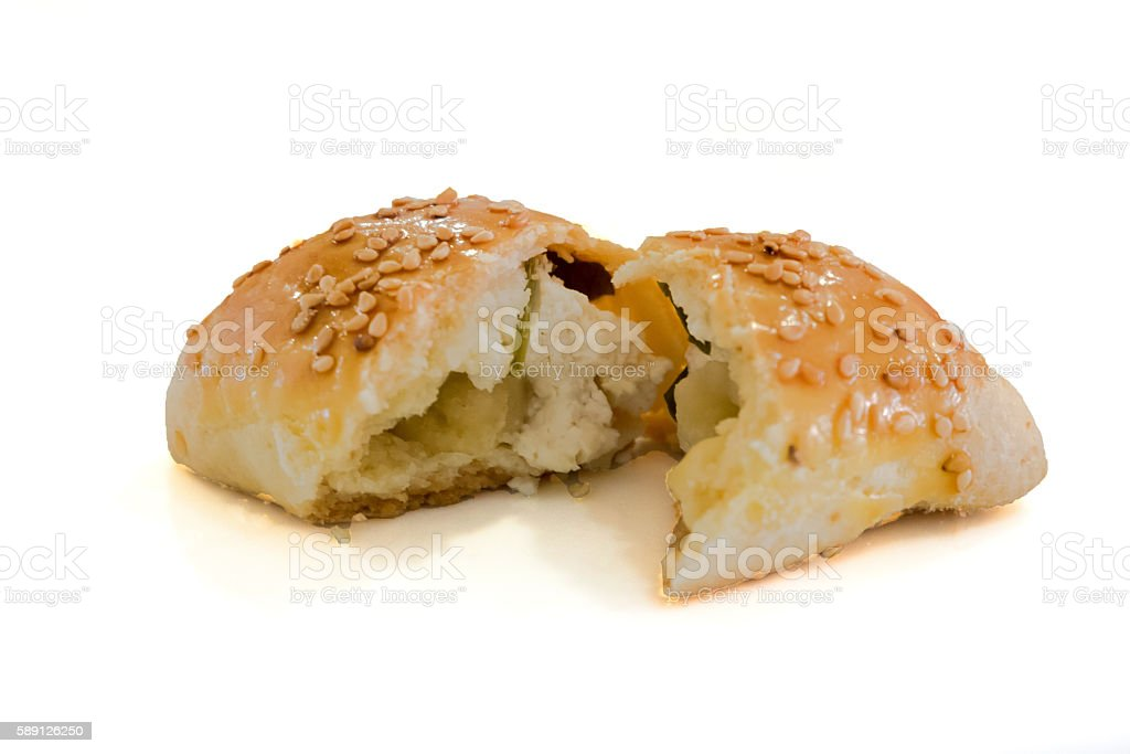Mini bun pastry with cheese filling stock photo