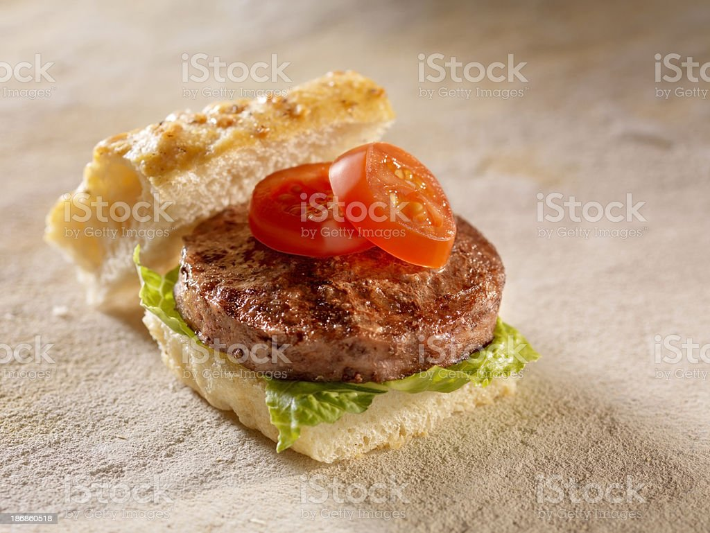 Mini Burger with Lettuce and Tomatoes royalty-free stock photo