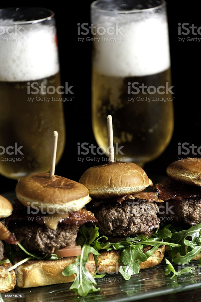 Mini Burgers and Beer royalty-free stock photo