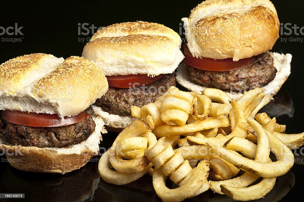 Mini Burgers and fries stock photo