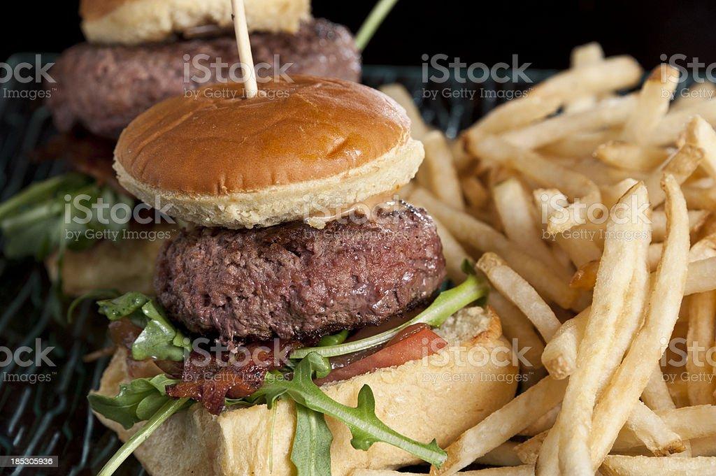 Mini Burgers and fries stock photo