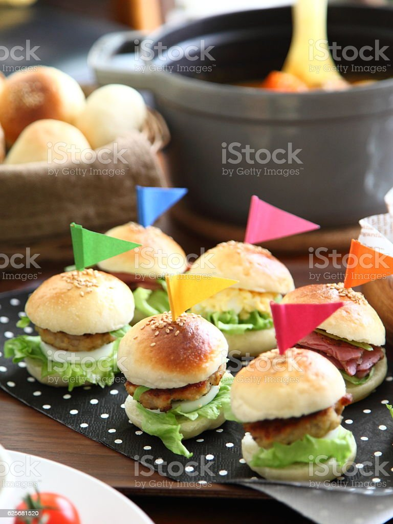Mini burgers for a party stock photo