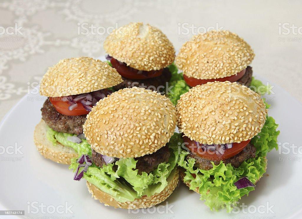Mini Burgers stock photo