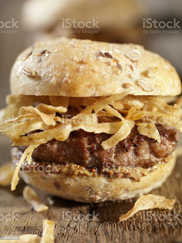 Mini Burgers with Crispy Onions royalty-free stock photo