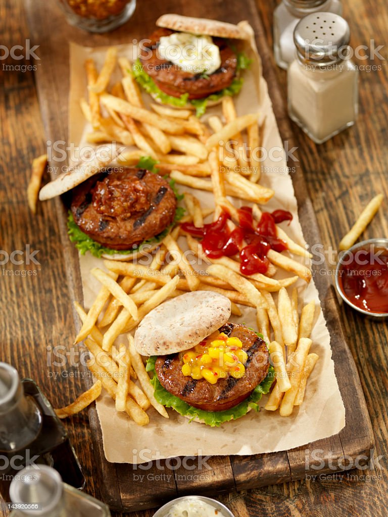 Mini Burger's with Fries stock photo