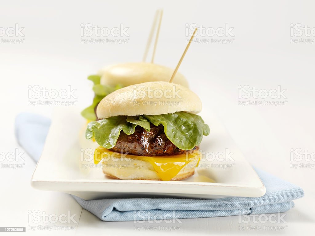 Mini Burgers with Lettuce and Cheese stock photo