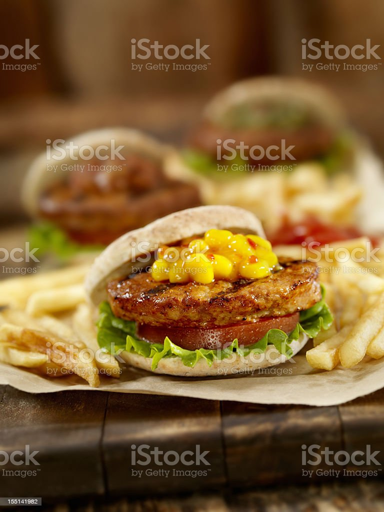 Mini Burger's with Sweet Corn Relish stock photo