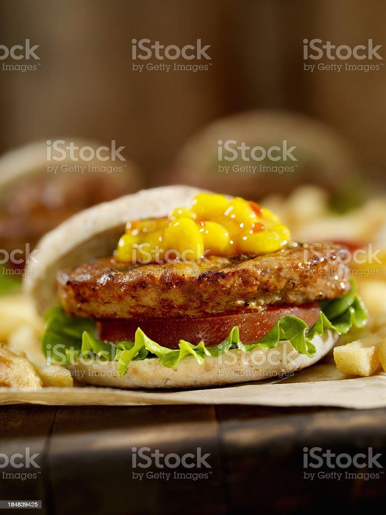 Mini Burger's with Sweet Corn Relish stock photo