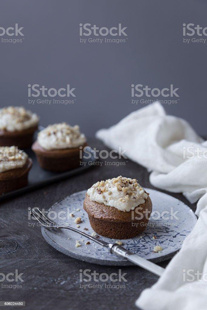mini carrot cake cupcakes stock photo