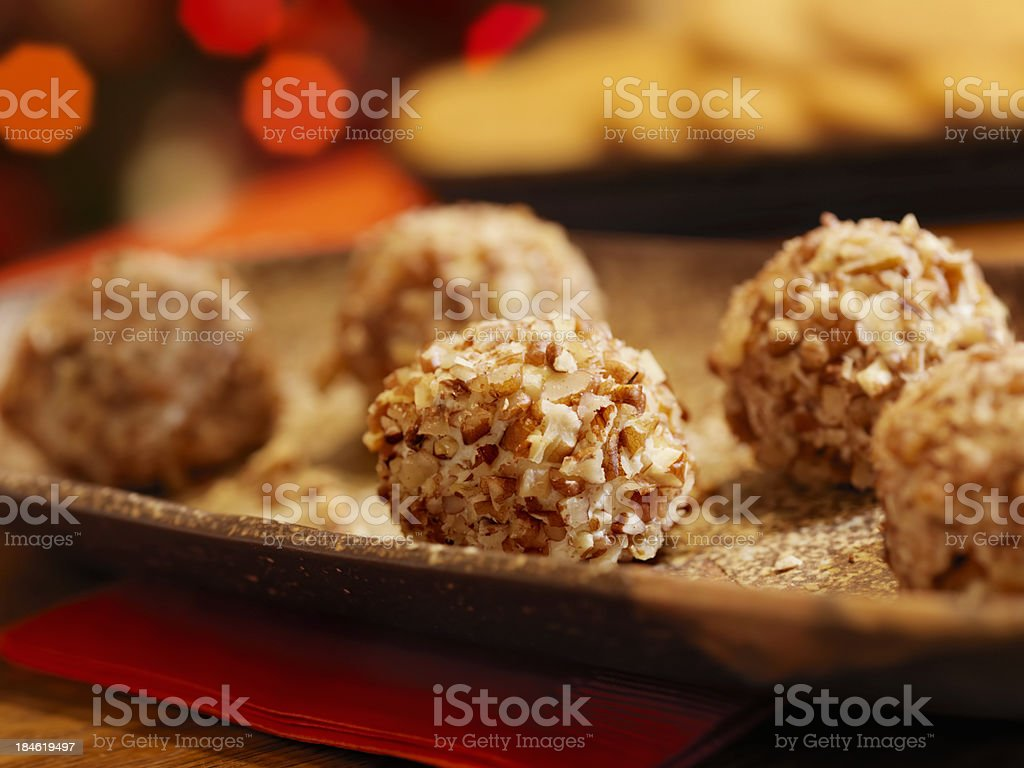 Mini Cheese Balls with Crackers at Christmas Time stock photo