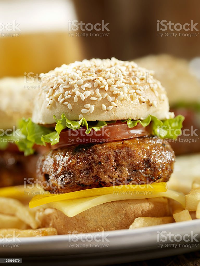 Mini Cheeseburger's and Beers royalty-free stock photo