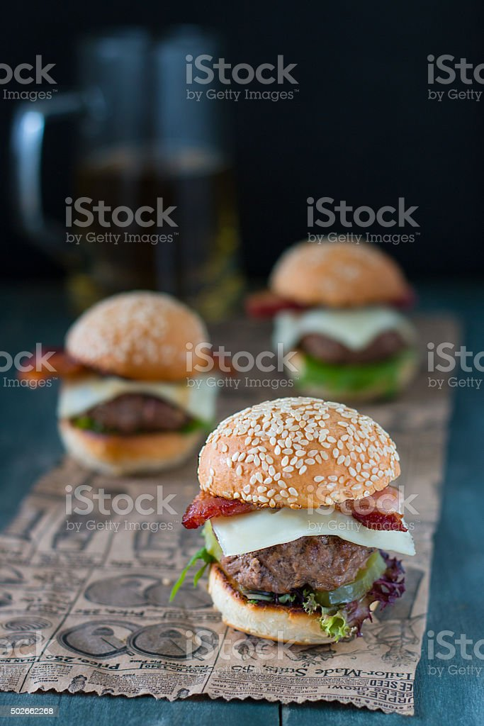 Mini Cheeseburgers stock photo