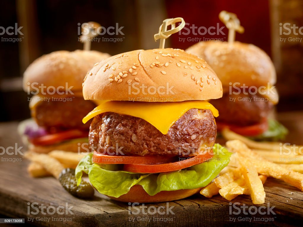 Mini CheeseBurgers with Fries stock photo