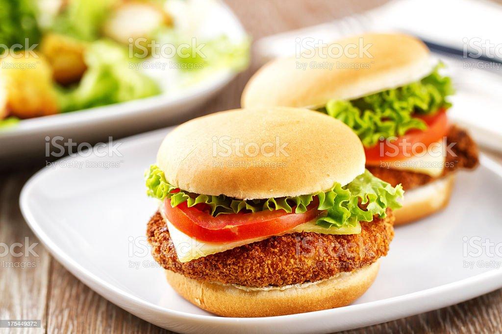 Mini Chicken burger with Caesar salad stock photo
