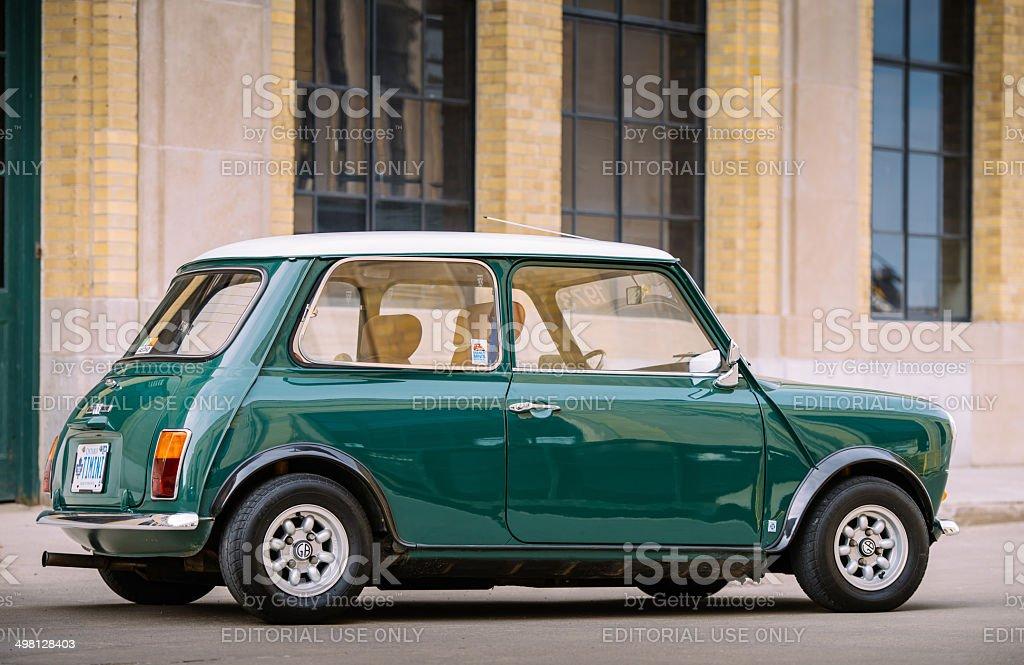 Mini Cooper Classic in spring time stock photo