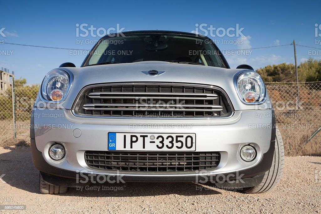 Mini Countryman crossover, closeup front view stock photo
