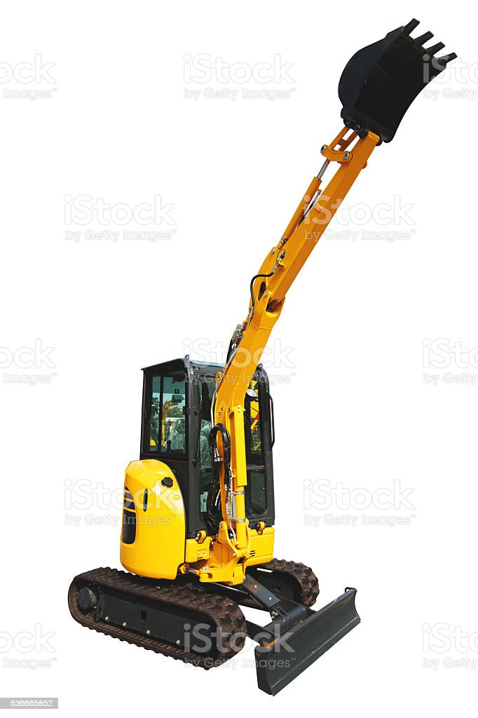 Mini digger excavator isolated on white stock photo
