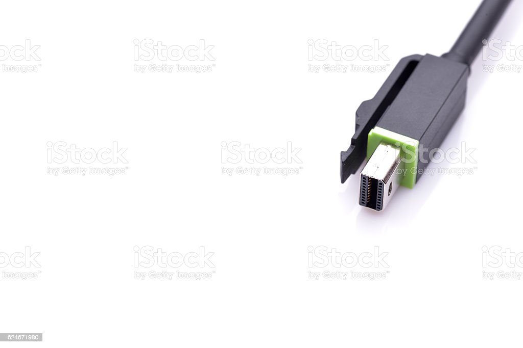 Mini display port connector isolated on white background stock photo