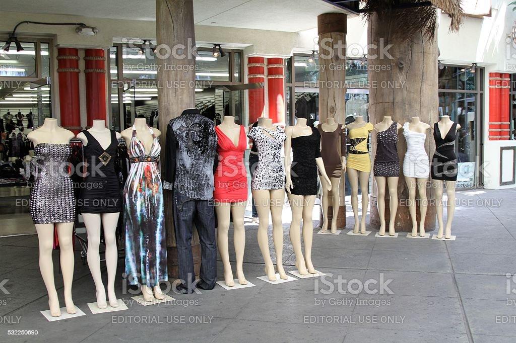 Mini dresses on mannequins stock photo