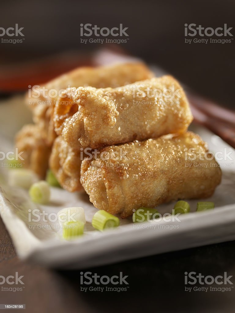 Mini Egg Rolls with Plum Sauce royalty-free stock photo