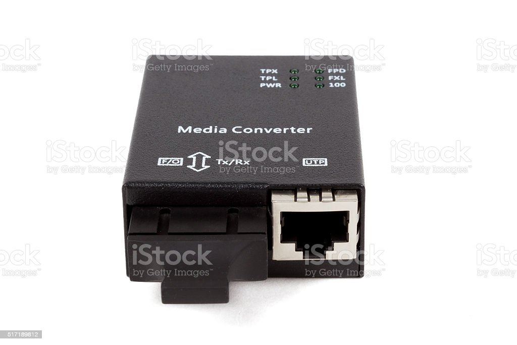 mini fiber optic Media converter stock photo