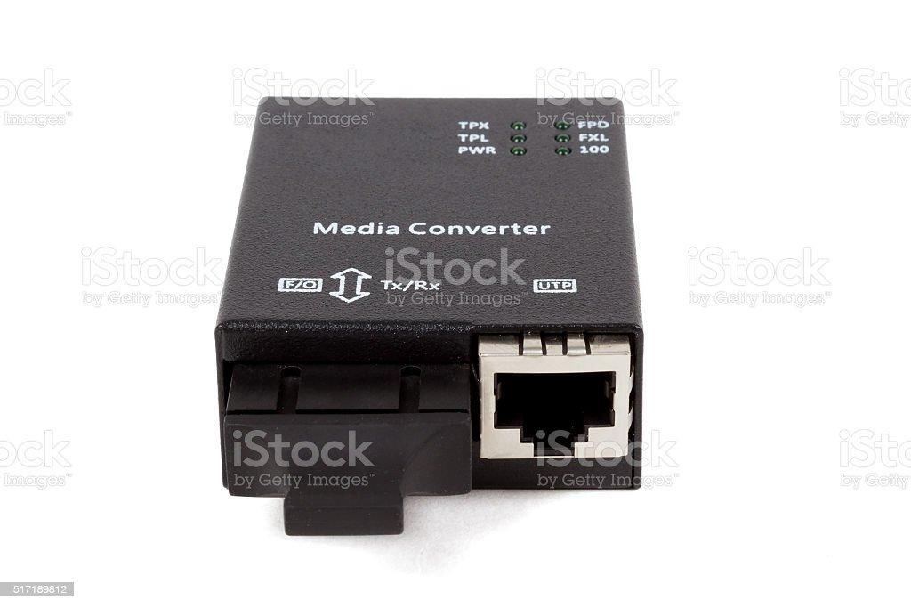 mini fiber optic Media converter stock photo