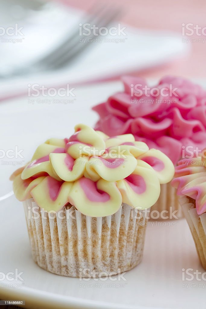 Mini flower cupcakes royalty-free stock photo