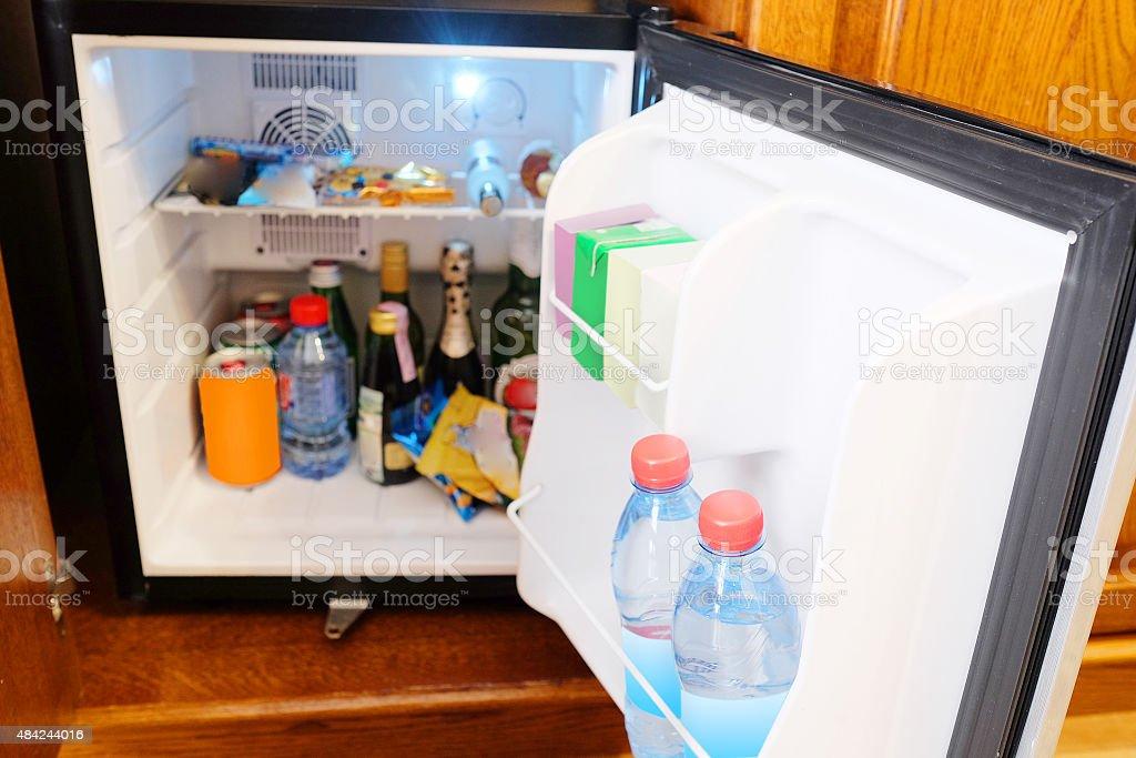 mini fridge stock photo