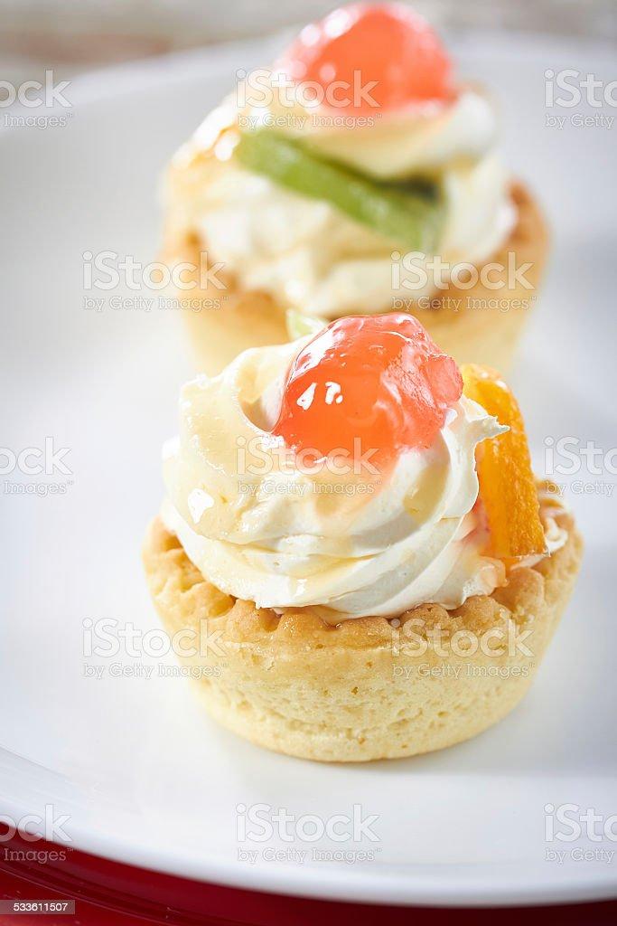 Mini fruit tarts stock photo