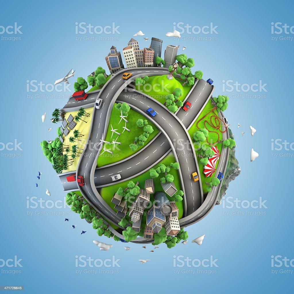 Mini globe concept depiction of life styles stock photo