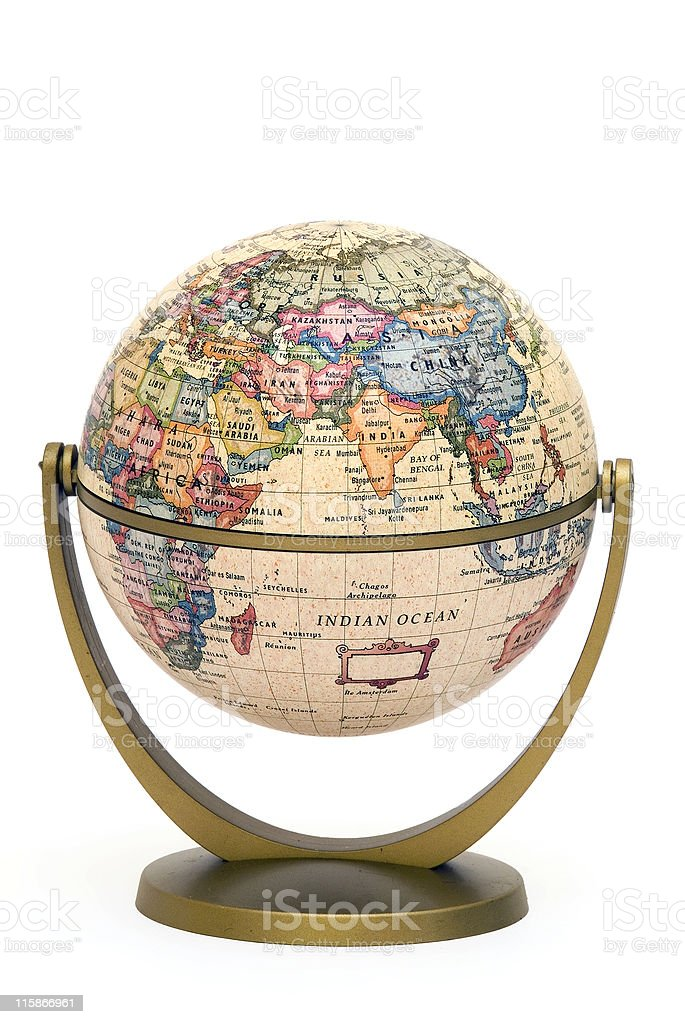 Mini Globe on stand Indian Ocean royalty-free stock photo
