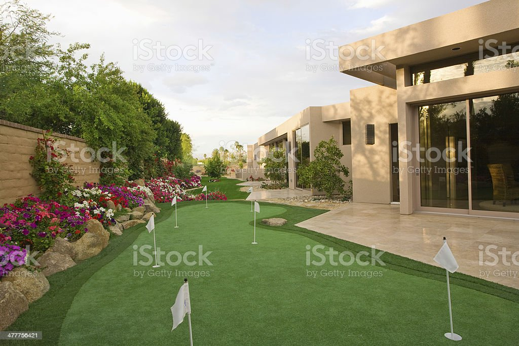 Mini Golf Course In House Garden stock photo