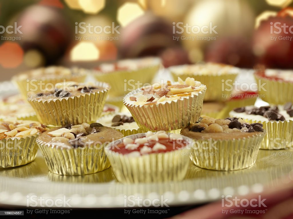 Mini Gourmet Cheesecakes at a Christmas Party royalty-free stock photo