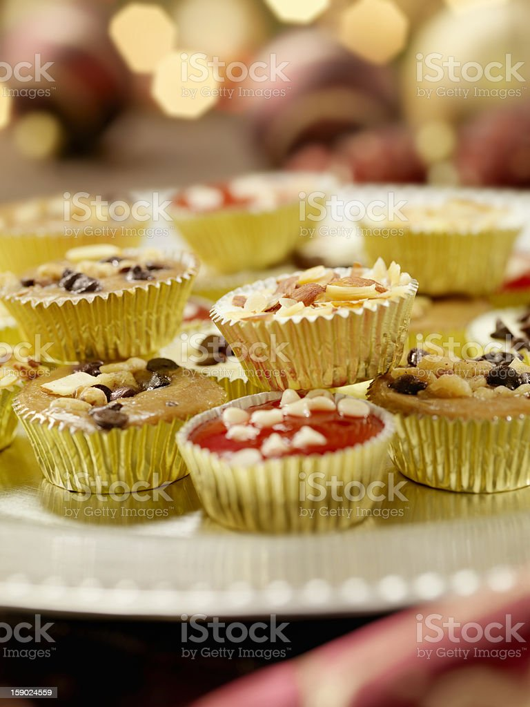 Mini Gourmet Cheesecakes at a Christmas Party stock photo