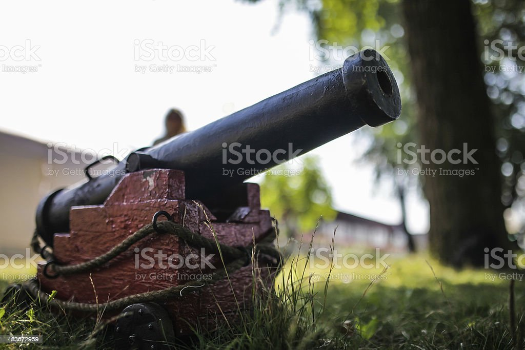 mini gun in the grass stock photo