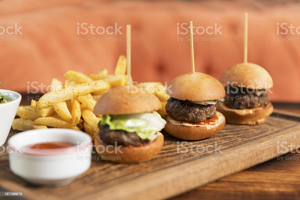 mini hamburger and french fries royalty-free stock photo
