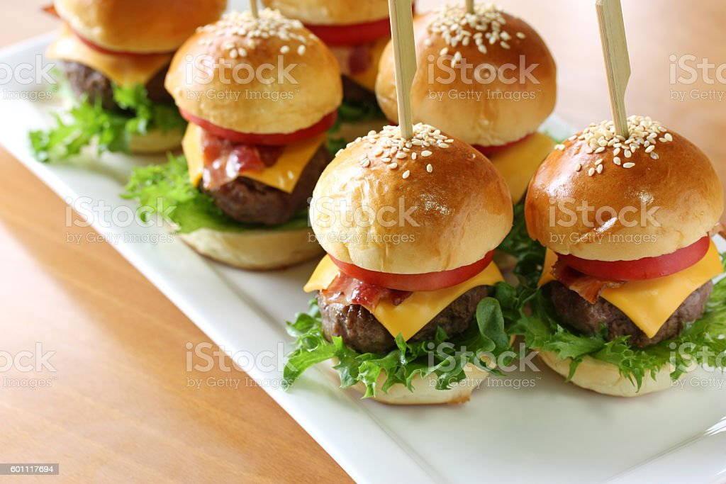 mini hamburger, mini burger, slider stock photo