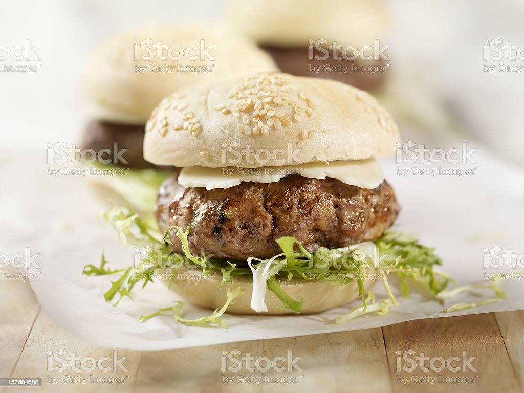 Mini Hamburger with Havarti Cheese stock photo