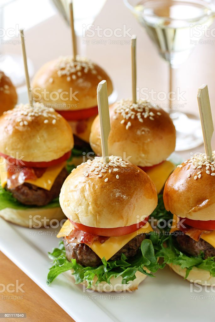 mini hamburgers, mini burgers, slider stock photo