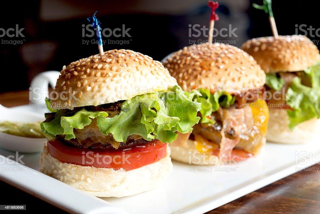 Mini Hamburgers stock photo