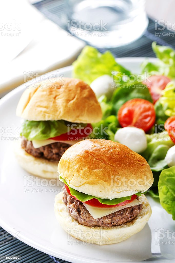 Mini Hanburger With Mixed Salad stock photo