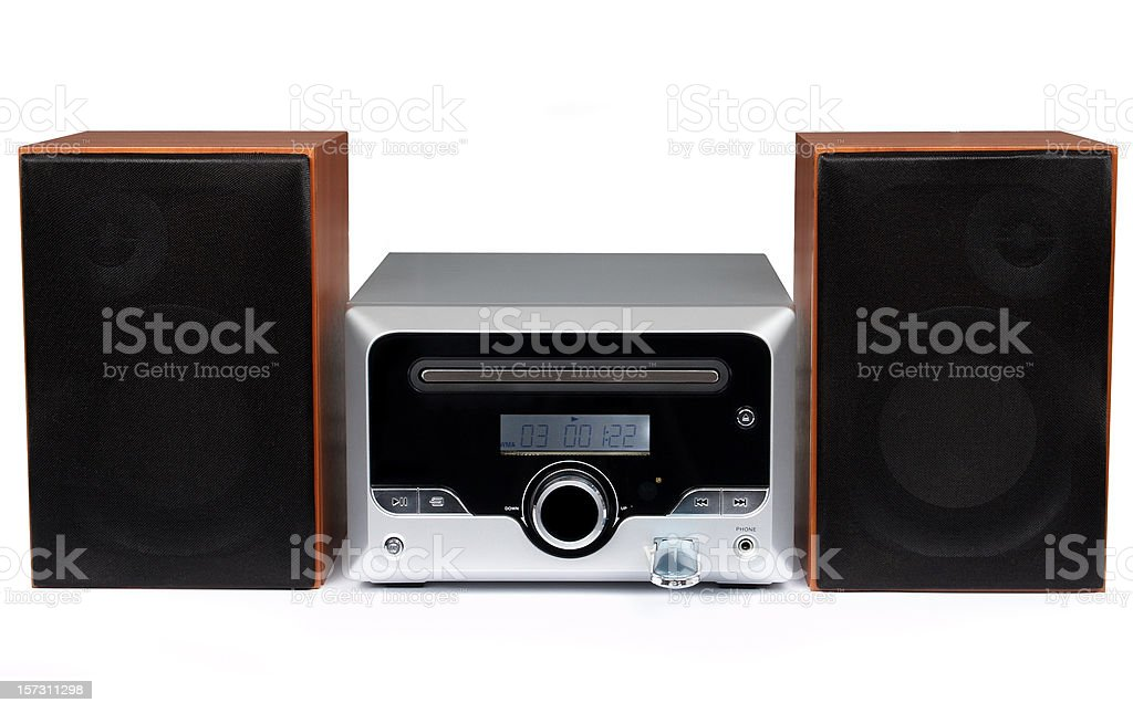 CD MP3 mini Hi-Fi system (isolated) royalty-free stock photo