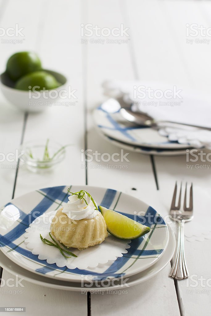 Mini Lime Bundt Cake with Copy Space stock photo