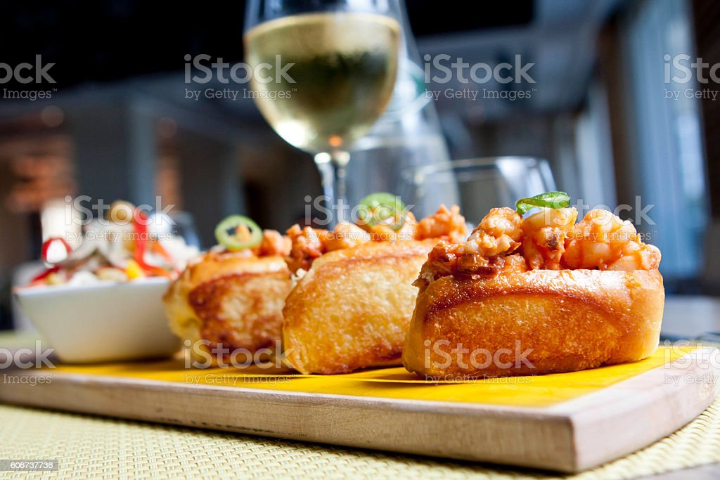 Mini lobster rolls stock photo