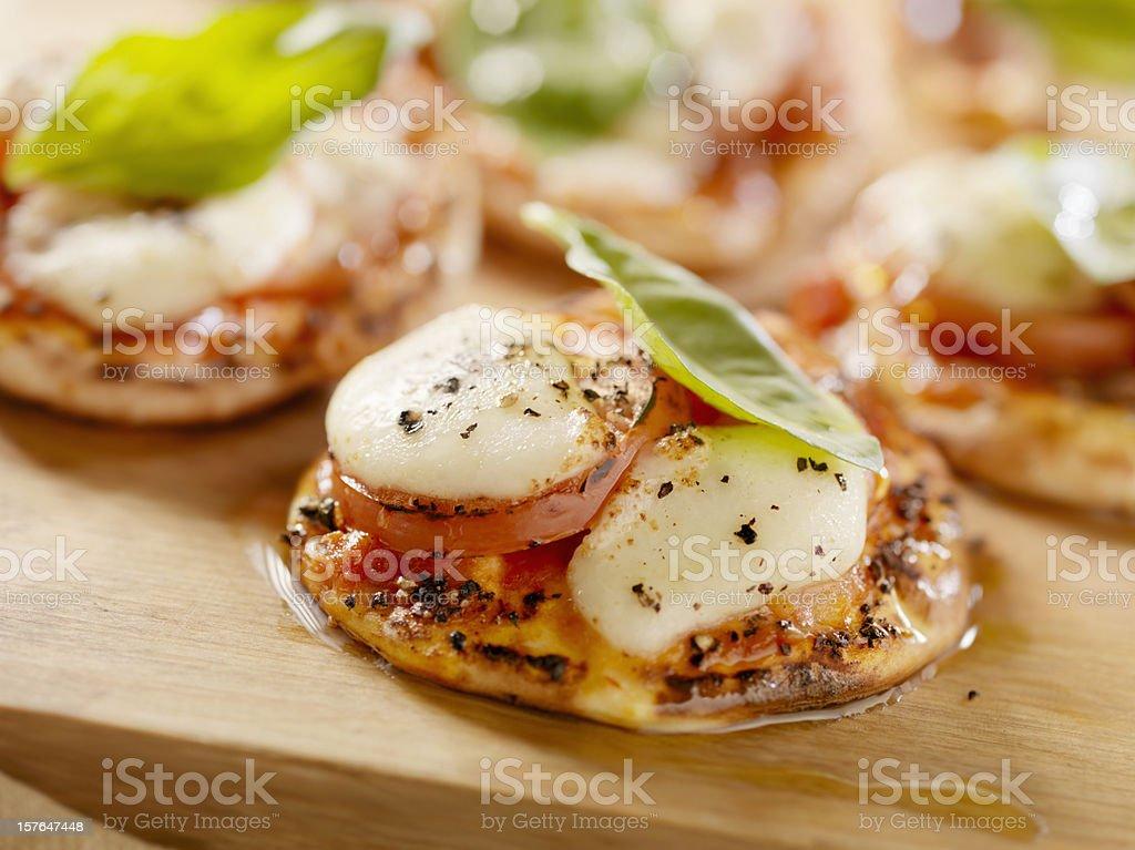Mini Margharita Pizza on Flat Bread stock photo