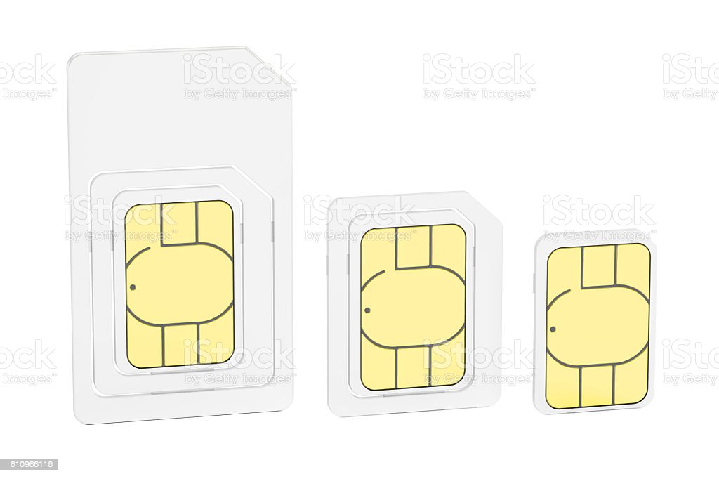 Mini, micro, nano sim cards, 3D rendering stock photo