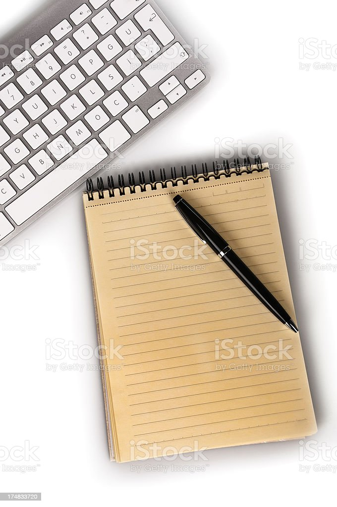 Mini notepad with keyboard and pen royalty-free stock photo