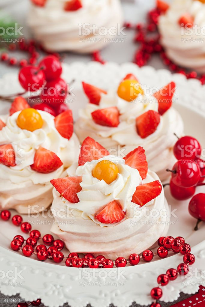 Mini Pavlova meringue cakes stock photo