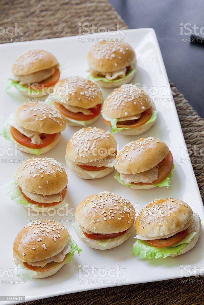 mini pork burgers stock photo